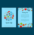 colored diabetes icons card or flyer vector image vector image