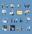 crime investigation flat icons set vector image vector image
