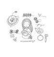 cute cartoon girl embroiders a beautiful pattern vector image