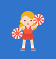 cute cheerleader and pom flat design vector image
