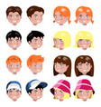 different kids faces set isolated vector image vector image