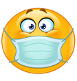 emoticon with medical mask vector image vector image