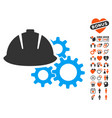 engineering helmet and gears icon with valentine vector image vector image