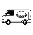 fast food delivery black and white vector image vector image