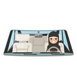 female arab driver vehicle interior car wheel ride vector image vector image