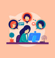 girl remotely communicates with friends vector image vector image