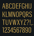 glittering letters narrow sans serif font latin vector image