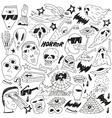 Halloween evil monsters - doodles vector image