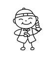 hand drawing cartoon character happy Chinese kid vector image vector image