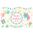 happy birthday modern cute icons set cartoon flat vector image vector image