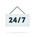 label twenty-four on seven flat isolated vector image