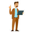 man with tablet in his holds thumbs up symbol vector image vector image