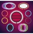 Neon Lights Round Frames Set vector image