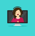 online support assistant flat vector image