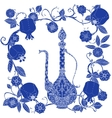Oriental patterned jugs blue vector image vector image
