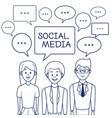 people and social media cartoon vector image vector image