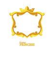 princess gold frame cartoon square avatars for vector image