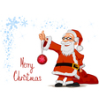 santa holding in hands a christmas ball and bag vector image