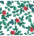 seamless background with roses watercolor painting vector image