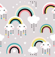 seamless childish pattern with cute rainbow stars vector image vector image