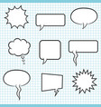 set bubble speech on paper background vector image