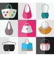 Set of flat womens bag and purse icons vector image vector image