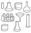 set of laboratory glassware vector image