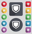 shield icon sign A set of 12 colored buttons and a vector image vector image