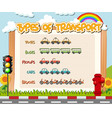 type transportation worksheet vector image vector image