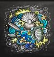 underwater cartoon doodle chalkboard vector image
