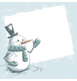 Vintage christmas card with smiling snowman vector image vector image