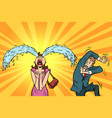 whimsical weeping woman and funny fright men vector image vector image
