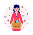 woman with donations food box vector image