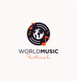 world music festival logo design vector image vector image