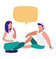 young couple talking characters vector image