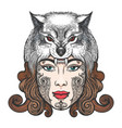 girl with a mask of a wolf vector image