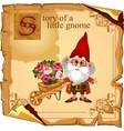 Wizard gnome grower with flower bouquets vector image