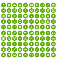 100 diagnostic icons hexagon green vector image vector image