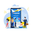 banner mobile app book now on plane vector image vector image