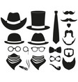 black and white hipster 21 silhouette element set vector image vector image
