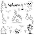 Black white Halloween doodle art vector image vector image