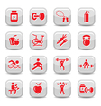 bodybuilding and fitness icons set vector image vector image