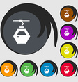 Cableway cabin icon sign Symbols on eight colored vector image vector image