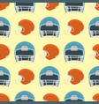cartoon baseball helmet seamless pattern vector image vector image