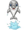 Cartoon dolphin jumping out of the water vector image vector image