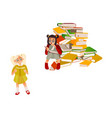 cartoon girls reading book set vector image vector image