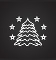 christmas tree with stars thin line on black vector image