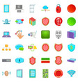 computer database icons set cartoon style vector image vector image