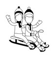 couple on snow sled vector image