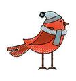 cute scribble christmas bird cartoon vector image